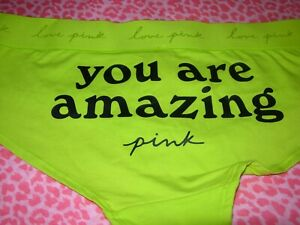 """Victorias Secret Sexy PINK Logo """"You are Amazing"""" Hipster Pantie M L NWT"""