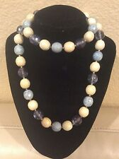 """QVC Joan Rivers Silver Tone Chambray Pales 30"""" Beaded Necklace w/3"""" Extender"""