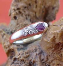 Hübscher Rubin Brillant Damen Ring in 750 Weißgold und Gelbgold
