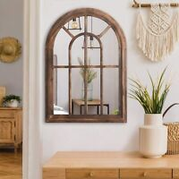 Brown Torched Wall Hanging Mirror Rustic Wood Frame Arched Wall Decor Decorative