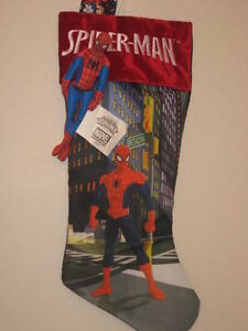 """Marvel Spiderman Broadway Christmas 18"""" Stocking + 7"""" Removable Puppet NEW"""