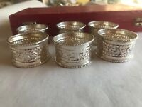6 VINTAGE HAND MADE IN INDIA STERLING SILVER NAPKIN RINGS PAISLEY CHASED ELEGANT