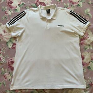 Mens Adidas White Cotton Blend Polo Shirt Size XL
