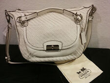 60% OFF! NEW Coach Kristin Leather Handbag Woven Round 19312 White Purse Satchel