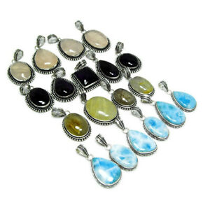 New Lot Natural LARIMAR AMETHYST RUTILE Mix Gemstone 925 Sterling Silver Pendant