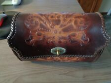 Vintage 1950's Hand Made Tooled Leather Laced Purse Billfold/Wallet Nice