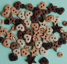 Formas natural-Micro Mini Corazones Estrellas Redondo Pequeño Vestido para arriba Craft Botones