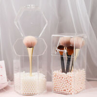 Transparent Makeup Brush Holder Pearl Cosmetic Case Flip Dust-proof Bucket