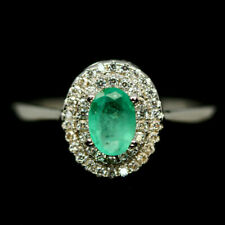 NATURAL GREEN EMERALD & WHITE CZ RING 925 STERLING SILVER SIZE6.75