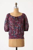 Edme & Esyllte Anthropologie size 6 Triad Peasant Blouse Cotton Floral Shirt Top