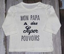 """🌺 Tee-shirt blanc imprimé 3 mois ~ """"mon papa a des supers pouvoirs"""" 🌺"""