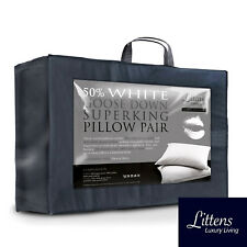 Ultimate Super King Size 50% White Goose Down & Feather Pillow Pair 280TC Cotton