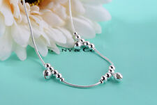 Genuine 925 Silver Stamped 12 Silver Beads & 3 Silver Bells  Anklet 21 cm + 3 cm