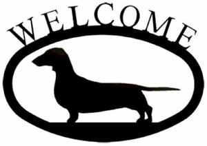 Wrought Iron Welcome Sign Dachshund Silhouette Outdoor Dog Plaque Accent Decor