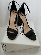 Aldo Margaree Black Leather Ankle Strap Sandal Woman's Size 7