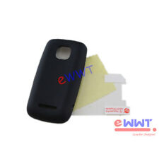 Black Silicone Soft Back Cover Case +Screen Protector for Nokia 311 Asha ZVSF890