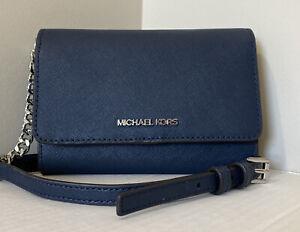 New Michael Kors Jet Set Travel Medium Phone Crossbody Leather Navy