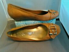 women's Jessica Simpson's nude beige slip-on buckle low wedge shoes