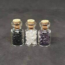 AMETHYST CRYSTAL AGATE GLASS VIAL AMULET TINY BOTTLES