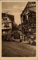 Miltenberg am Main Ansichtskarte ~1930 Partie am Aufgang zur Burg Fachwerkhäuser