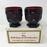 *Vtg Avon CAPE COD 1876 Red Sandwich Glass Footed Glass Set  w /Box Christmas