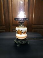 VTG HURRICANE 3WAY KEY SWITCH LAMP DOUBLE GLOBE GONE WITH THE WIND FLORAL BRASS