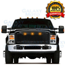 08-10 Ford Super Duty Raptor Gloss Black Front Hood Mesh Grille+Shell+Amber LED
