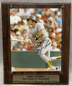 Jose Canseco 40/40 Autographed Photo Early 90's Stacks of Plaques MLB Licensed