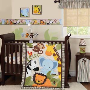 3 Piece Crib Bedding Set Baby Nursery Quilt Jungle Animal Buddies Soft Blend