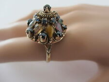 Vintage Sapphire & Gemstone Cluster Thai Princess Harem 14k Ring