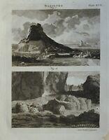 1797 Original Estampado Basaltes Ígneas Roca