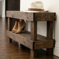 Rustic Farmhouse Shoe Bench 2-Tier Shelf Solid Wood Entryway Storage Seat Brown