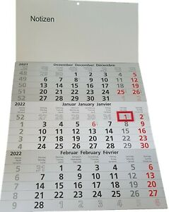 Dreimonatskalender Wandkalender 2022 Kalender 3 Monatskalender ca. 30 x 49 cm
