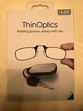 New ThinOptics +1.00 Black Reading Glasses, Keychain Case