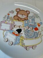 Vintage Decorative Plate Baby Birth Record Birthday Train Teddy Bear Elephant
