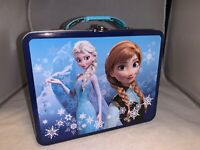 Disney Frozen Elsa & Anna Metal Blue Lunchbox-New