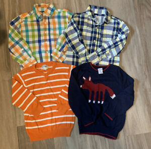 Excellent Condition! Cute Boys Shirts/Sweaters Size 4- Lot Of 4