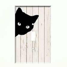 Black Cat Light Switch Plate Wall Cover Pet Decor Distressed Wood