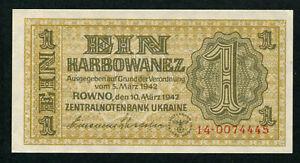 UKRAINE 1 KARBOWANEZ 1942, PICK: 49, UNC
