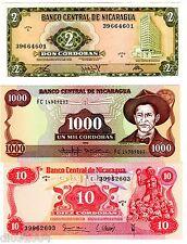 LOT 3 BILLETS Nicaragua  Cordobas 1972 - 1985  NEUF UNC