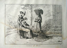 1816 BARTOLOMEO PINELLI ENGRAVING ITALIAN WOMEN, CHILD IN ROME COSTUMES OF ITALY