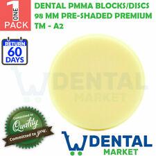 X 1 Dental PMMA Blocks/Discs 98 mm Pre-Shaded Premium TM - A2 Free Shipping