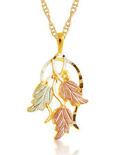 Mt Rushmore 10K Black Hills Gold Pendant with Three 12K Gold Leaves