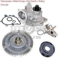 Water Pump + Fan Clutch + Thermostat + Pulley Kit BMW 540i 740i 740iL (4pc) New