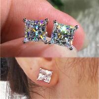 18K White Gold Princess Cut Moissanite White Diamond Stud Earrings 6mm/7mm/8mm~