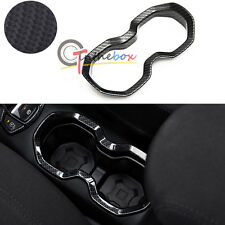 Carbon Fiber Style Water Cup Holder Frame Outlet Cover Trim For Jeep Renegade
