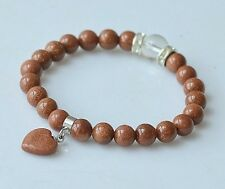 Stretchy Heart Dangle 20 8mm Energy Goldstone Prayer Beads Wrist Mala Bracelet