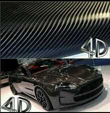 """Premium 4D Gloss Black Carbon Fiber Vinyl Wrap Bubble Free Air Release 12''×59"""""""