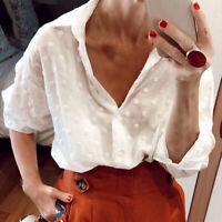 Womens Long Sleeve White Shirt Casual Loose Tunic Tops Button Down Tee Blouse