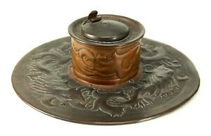 ^ Antique 1895 Arts & Crafts Copper Inkwell NEWLYN SCHOOL Hand Hammered Maritime